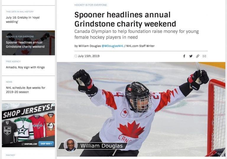 NHL features Grindstone Award Foundation & Natalie Spooner